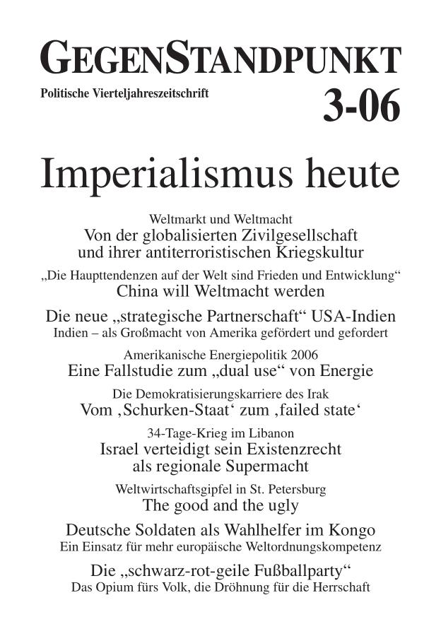 Titelblatt der Zeitschrift GegenStandpunkt 3-06