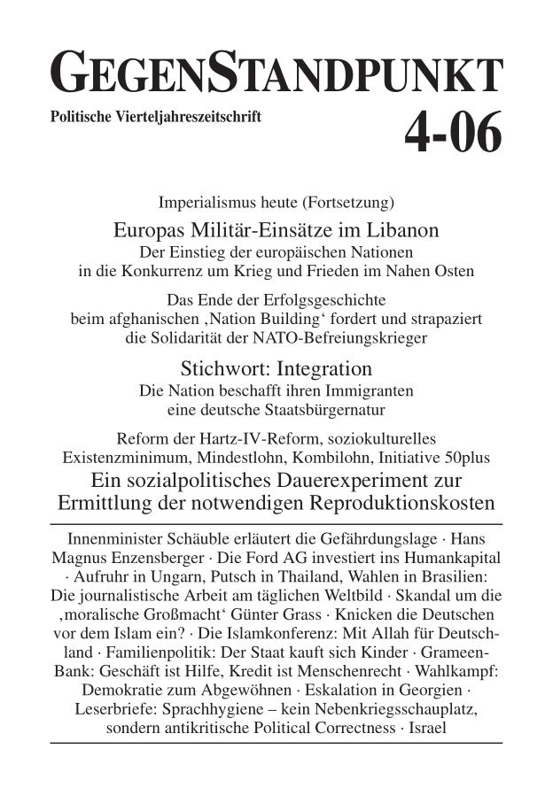 Titelblatt der Zeitschrift GegenStandpunkt 4-06
