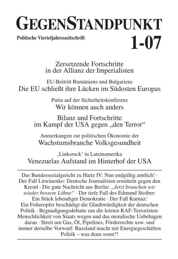 Titelblatt der Zeitschrift GegenStandpunkt 1-07