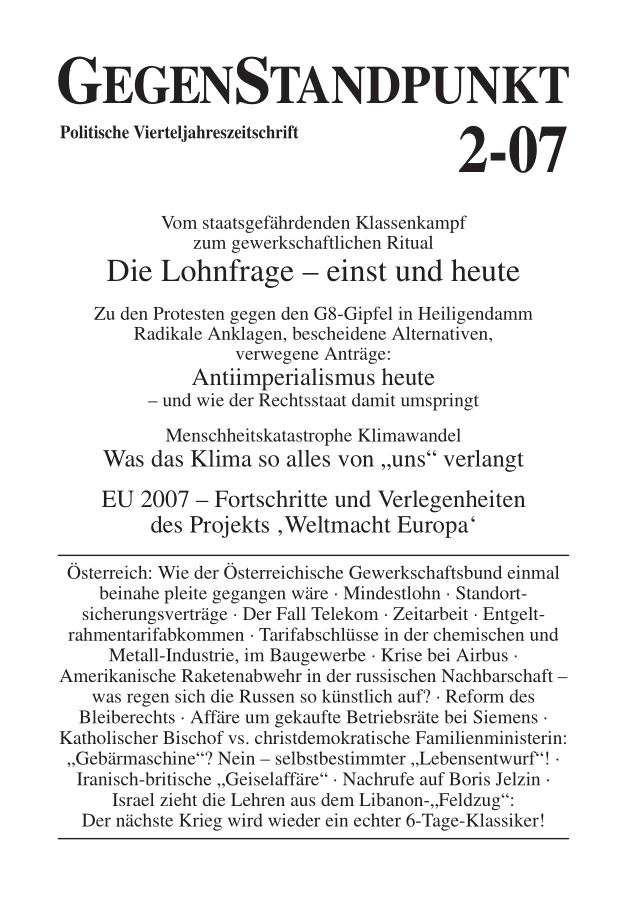 Titelblatt der Zeitschrift GegenStandpunkt 2-07