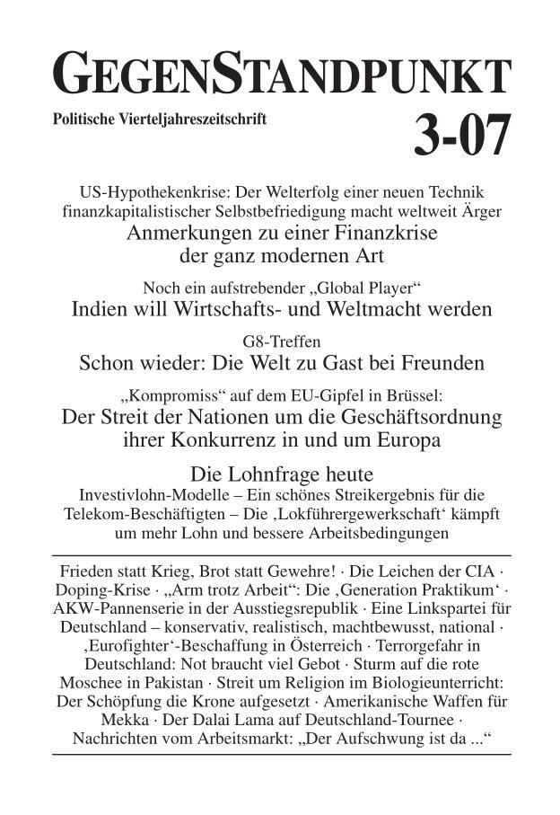 Titelblatt der Zeitschrift GegenStandpunkt 3-07