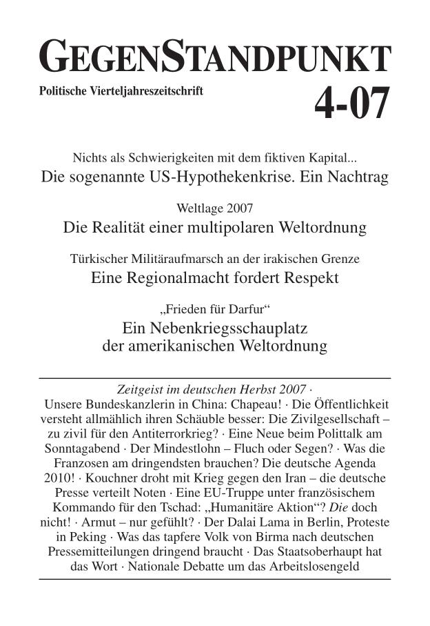 Titelblatt der Zeitschrift GegenStandpunkt 4-07