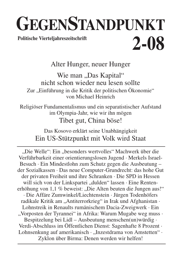 Titelblatt der Zeitschrift GegenStandpunkt 2-08
