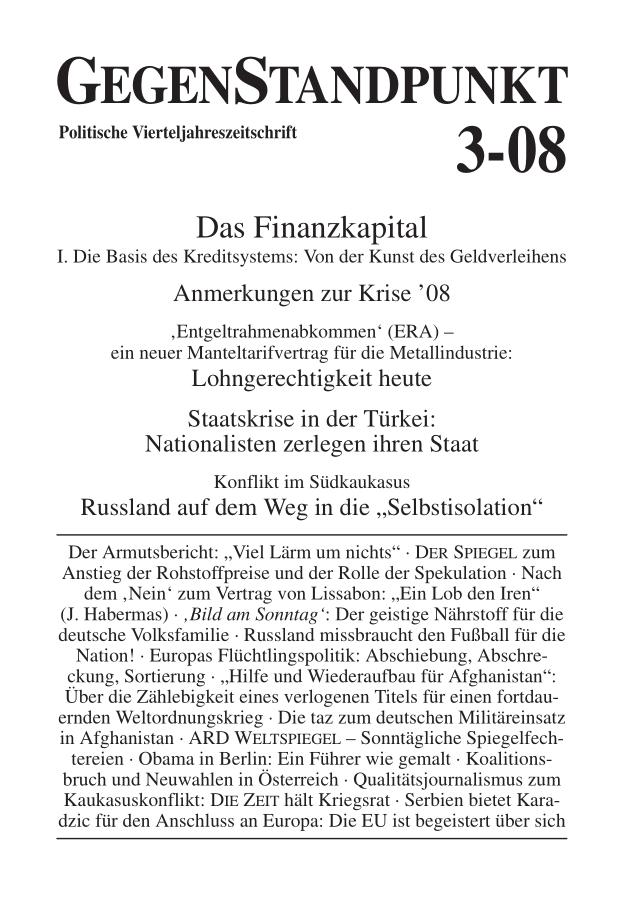 Titelblatt der Zeitschrift GegenStandpunkt 3-08