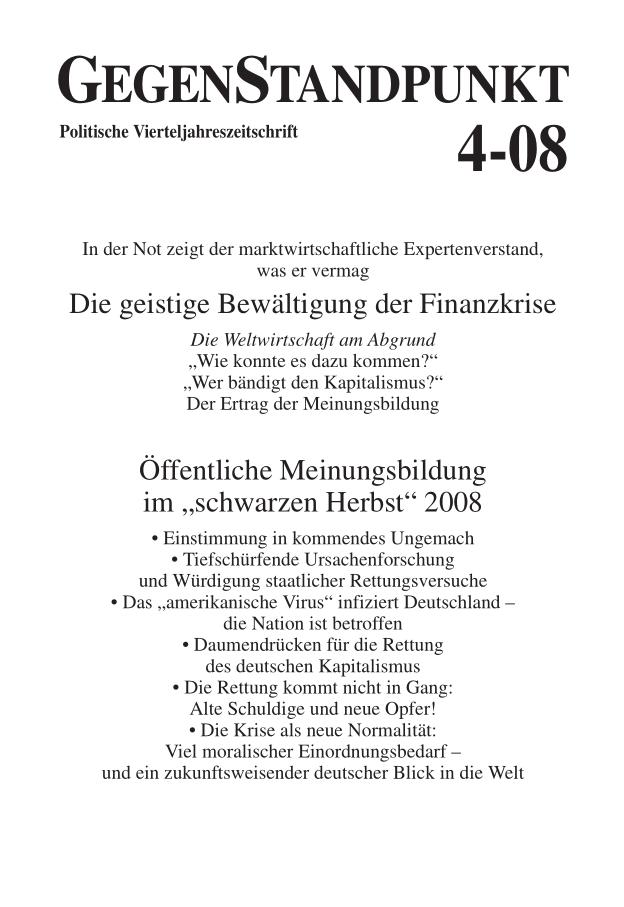 Titelblatt der Zeitschrift GegenStandpunkt 4-08