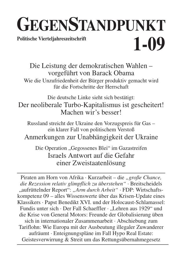 Titelblatt der Zeitschrift GegenStandpunkt 1-09