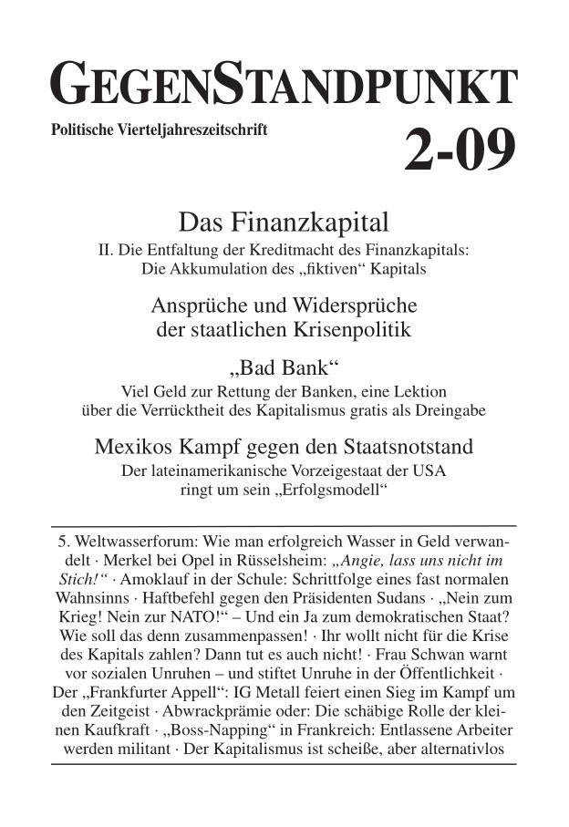 Titelblatt der Zeitschrift GegenStandpunkt 2-09