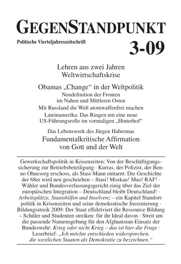 Titelblatt der Zeitschrift GegenStandpunkt 3-09