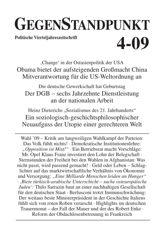Titelblatt der Zeitschrift GegenStandpunkt 4-09