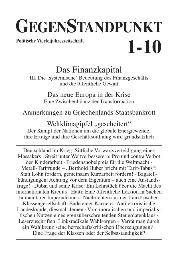 Titelblatt der Zeitschrift GegenStandpunkt 1-10