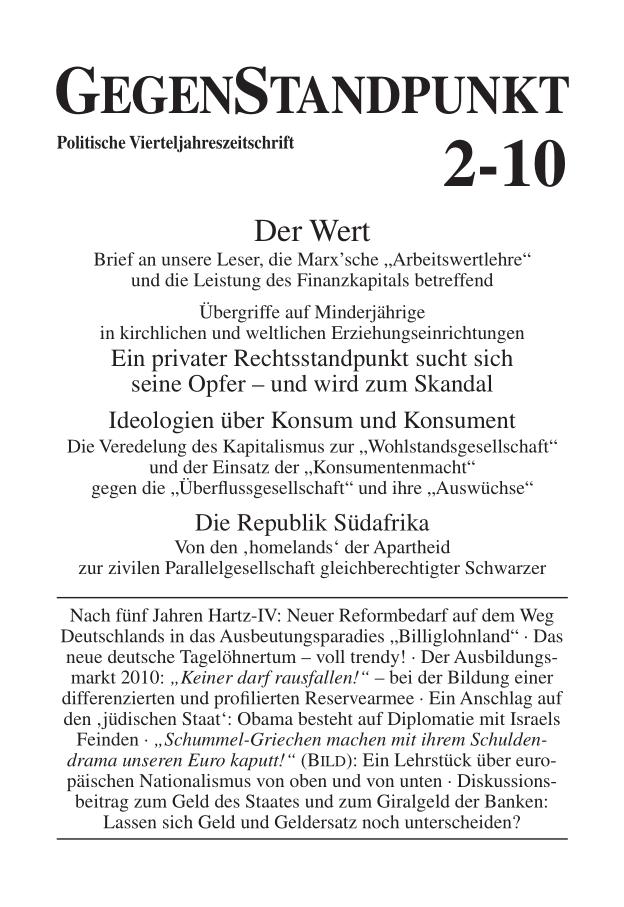 Titelblatt der Zeitschrift GegenStandpunkt 2-10