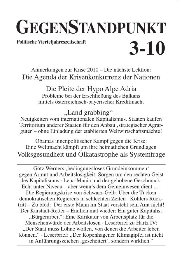 Titelblatt der Zeitschrift GegenStandpunkt 3-10