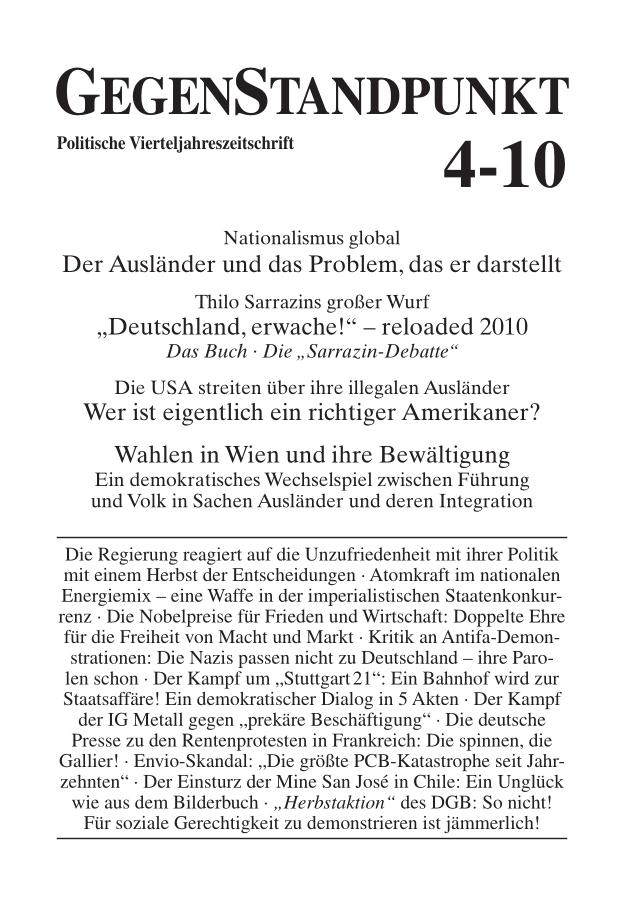 Titelblatt der Zeitschrift GegenStandpunkt 4-10