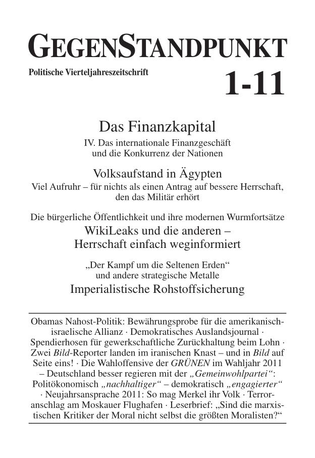 Titelblatt der Zeitschrift GegenStandpunkt 1-11