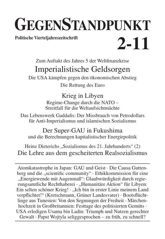 Titelblatt der Zeitschrift GegenStandpunkt 2-11