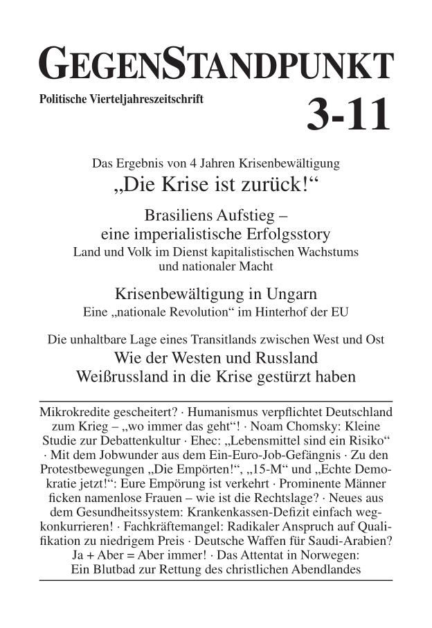 Titelblatt der Zeitschrift GegenStandpunkt 3-11