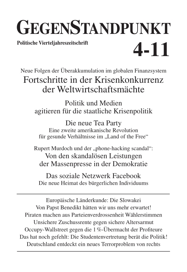 Titelblatt der Zeitschrift GegenStandpunkt 4-11