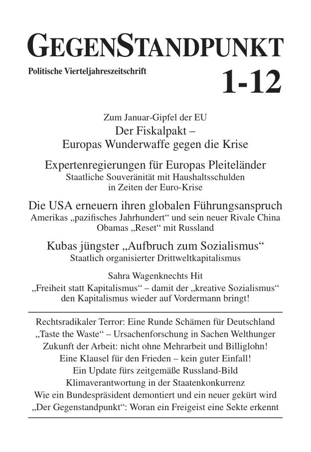 Titelblatt der Zeitschrift GegenStandpunkt 1-12