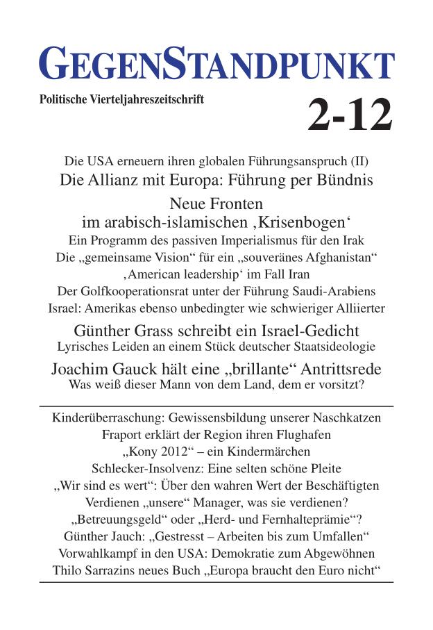 Titelblatt der Zeitschrift GegenStandpunkt 2-12