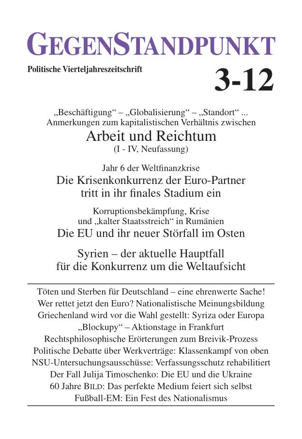 Titelblatt der Zeitschrift GegenStandpunkt 3-12