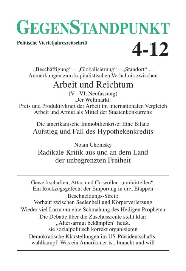 Titelblatt der Zeitschrift GegenStandpunkt 4-12