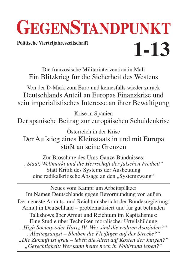 Titelblatt der Zeitschrift GegenStandpunkt 1-13