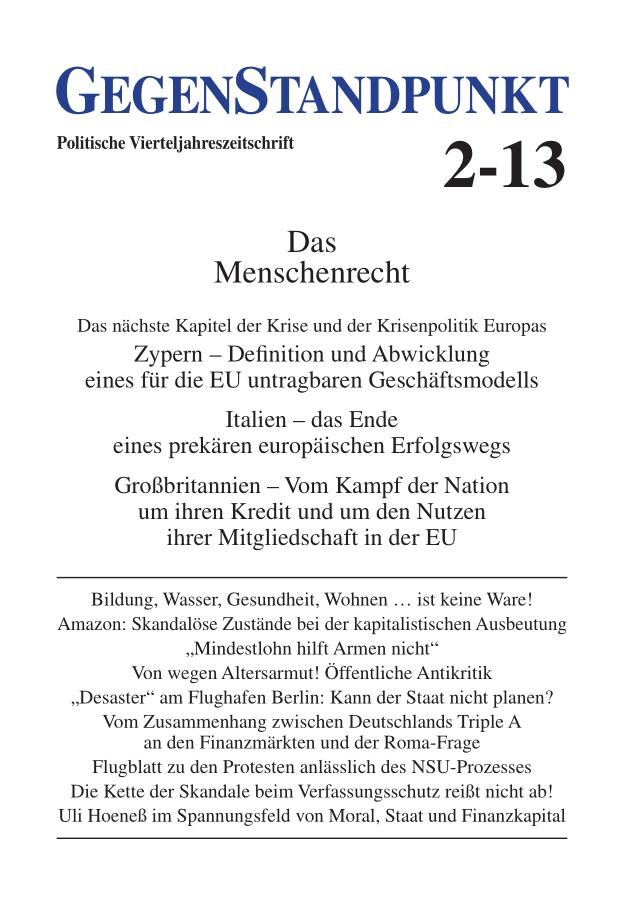 Titelblatt der Zeitschrift GegenStandpunkt 2-13