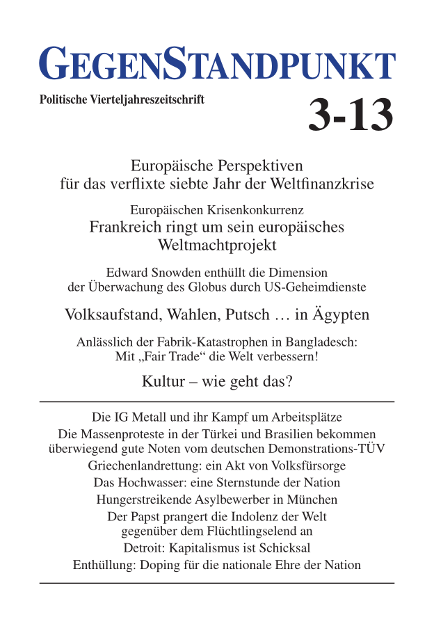 Titelblatt der Zeitschrift GegenStandpunkt 3-13