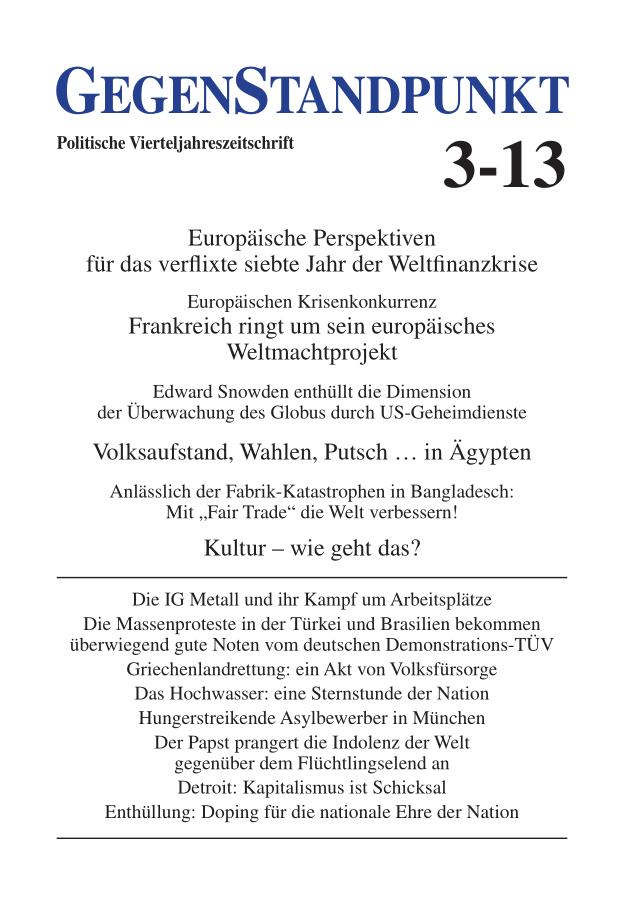 Titelblatt der Zeitschrift GegenStandpunkt 3-13