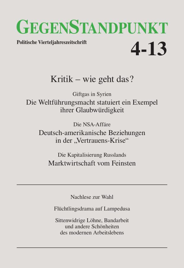 Titelblatt der Zeitschrift GegenStandpunkt 4-13