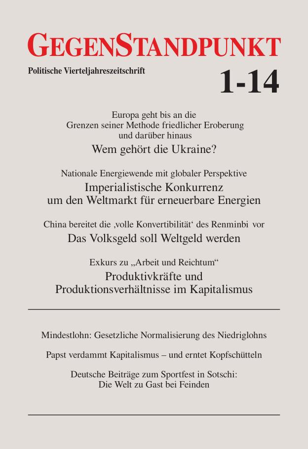 Titelblatt der Zeitschrift GegenStandpunkt 1-15