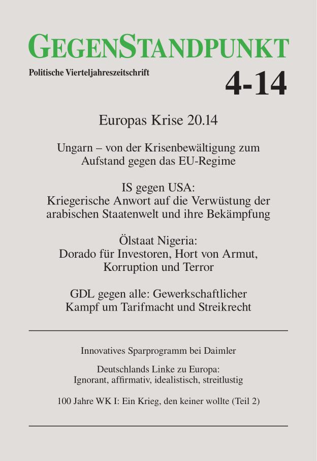 Titelblatt der Zeitschrift GegenStandpunkt 4-14