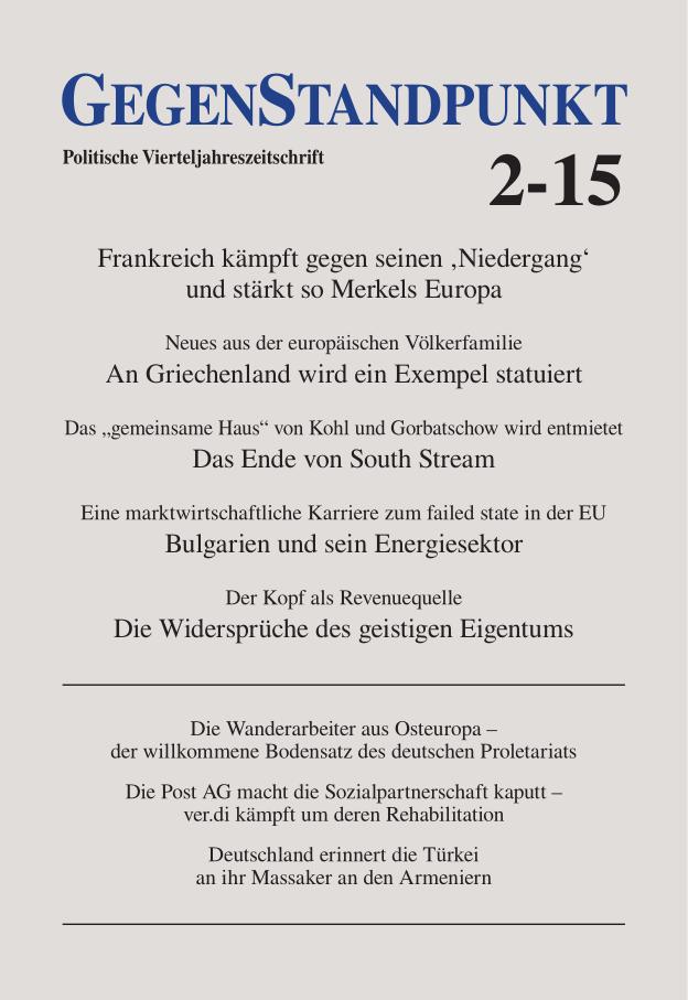Titelblatt der Zeitschrift GegenStandpunkt 2-15