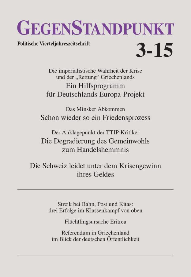 Titelblatt der Zeitschrift GegenStandpunkt 3-15