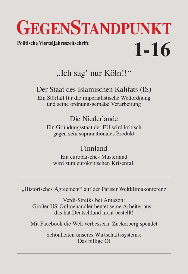 Titelblatt der Zeitschrift GegenStandpunkt 1-16