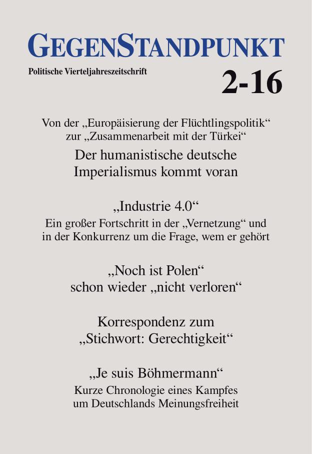 Titelblatt der Zeitschrift GegenStandpunkt 2-16