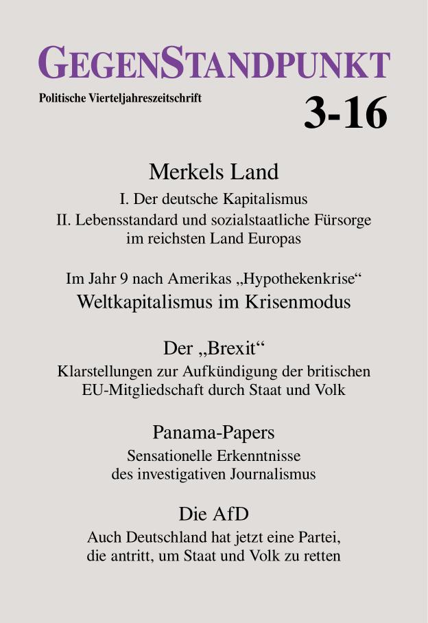 Titelblatt der Zeitschrift GegenStandpunkt 3-16