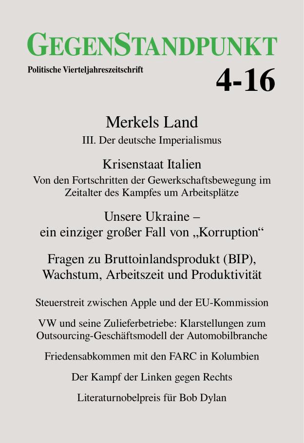 Titelblatt der Zeitschrift GegenStandpunkt 4-16