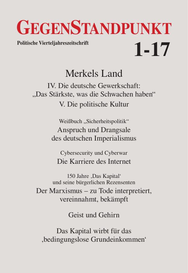 Titelblatt der Zeitschrift GegenStandpunkt 1-17